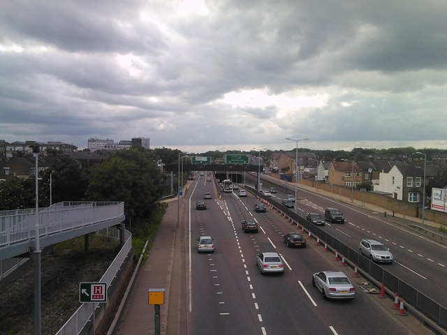View of the Fore Street junction from the footbridge over the A406