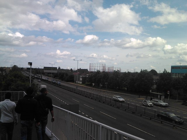 Gas holders in Walthamstow, viewed from the footbridge over the A406