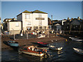 SX9372 : Flood defence works, New Quay Inn, Teignmouth by Robin Stott