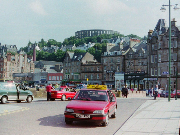 Taxi at Station Drop Off Point, Oban, 1998