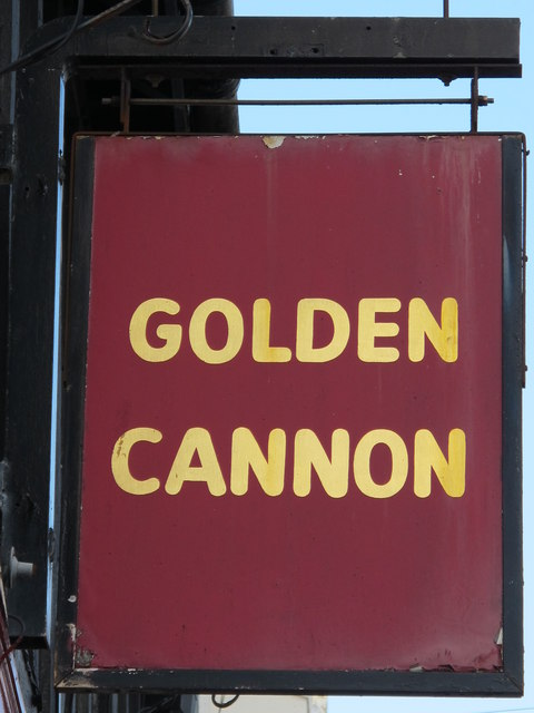 Sign for The Golden Cannon, St. George's Road / College Place, BN2