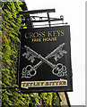 TL0798 : Cross Keys (2) - sign, 21 Elton Road, Wansford by P L Chadwick