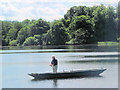 SP9113 : Fishing from a boat on Tringford Reservoir, near Tring by Chris Reynolds