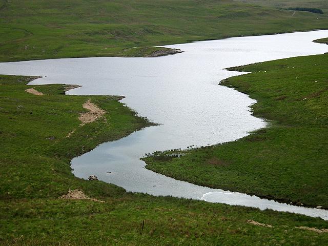 Afon Llechwedd-mawr enters Nant-y-moch Reservoir