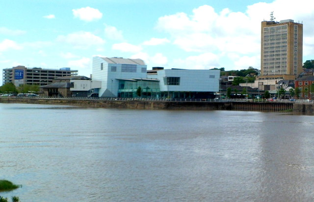 West bank of the River Usk from Kingsway Centre Car Park to Chartist Tower, Newport