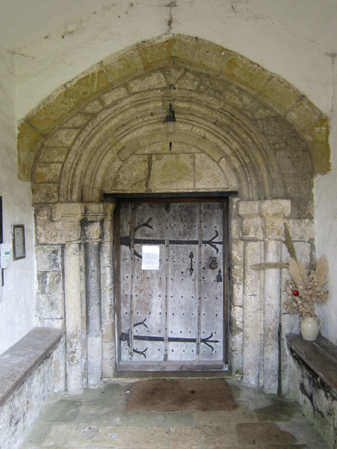 The ancient south door of St Martin's, Seamer