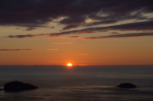 Sun setting beyond Muckle Flugga on the longest day