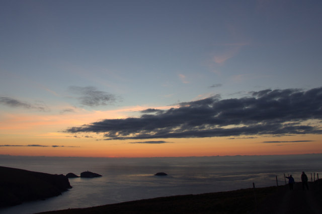 The view to Muckle Flugga just after sunset on the longest day