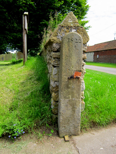 Dated gatepost at Willerby church