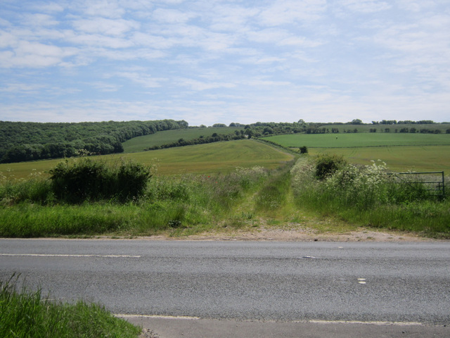 Farmland and track alongside the A64