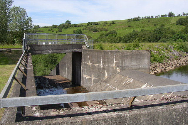 The overflow weir and spillway, Lower Lliw reservoir