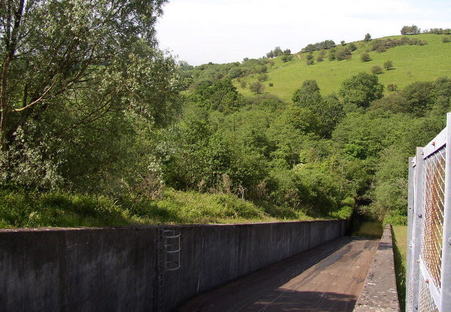 The spillway at Lower Lliw reservoir