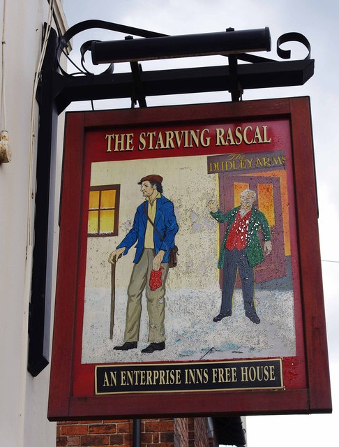 The Starving Rascal (2) - sign, 1 Brettell Lane, Amblecote, Stourbridge