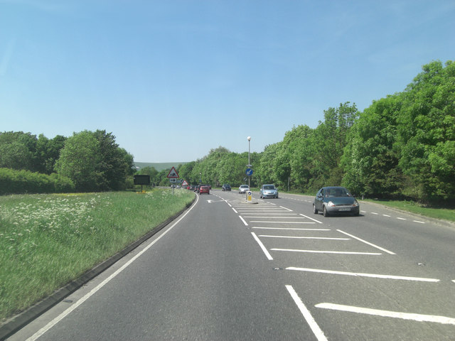 A27 Lewes Road approaches junction with Burgh Lane