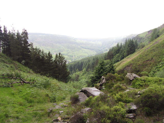 Looking down Cwm Lluest