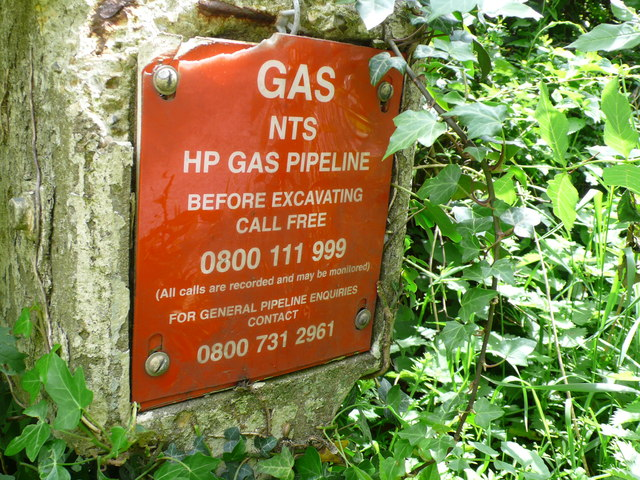 Gas Pipe Line Warning sign