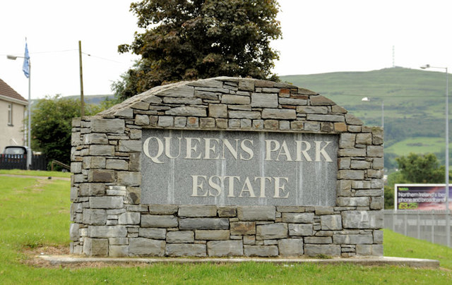 Queen's Park sign, Glengormley, Newtownabbey