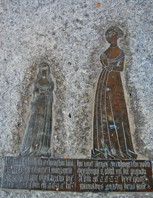 Brass of Elizabeth Etchingham and Agnes Oxenbrigg, Etchingham church
