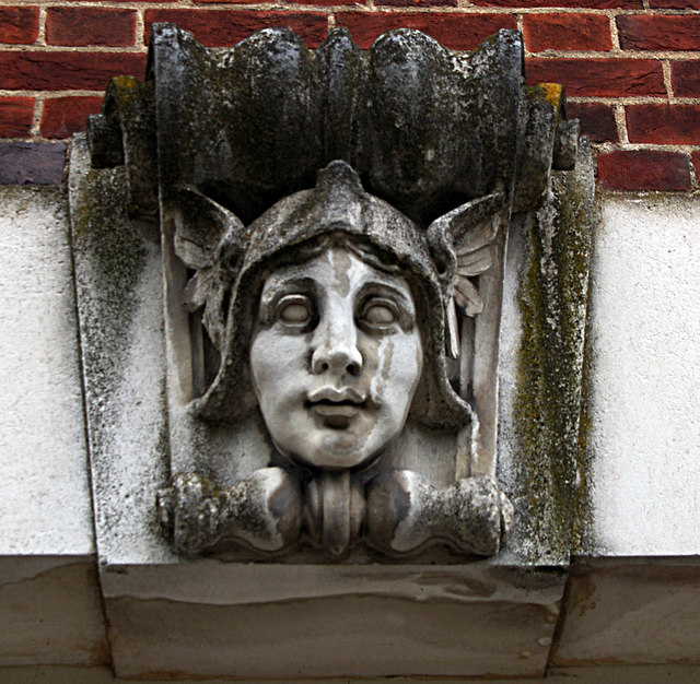 Sculpted keystone, former post office, Welwyn Garden City