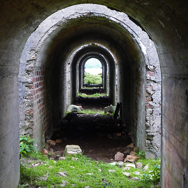 Under the calcining kilns
