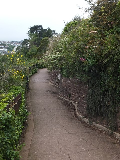 Retaining wall in the gardens of Roundham Head