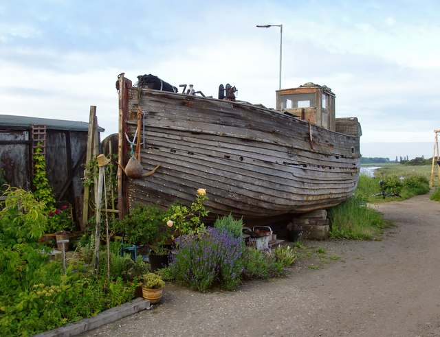 High and dry: old fishing vessel at Iron Wharf boatyard, Faversham Creek
