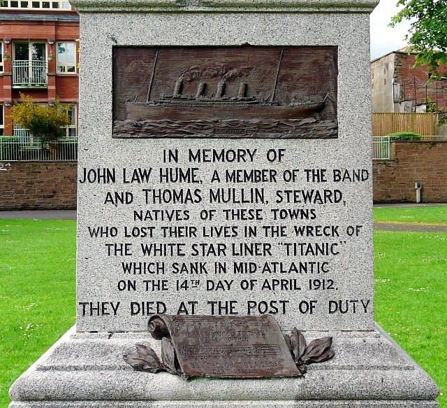 Inscription on the Titanic Memorial, Dock Park