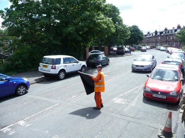 Volunteer flag man, Moor Road level crossing