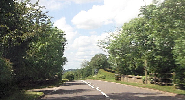 A518 approaching old railway bridge