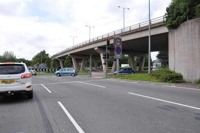 Waiting for the lights at the A500 flyover with the A34