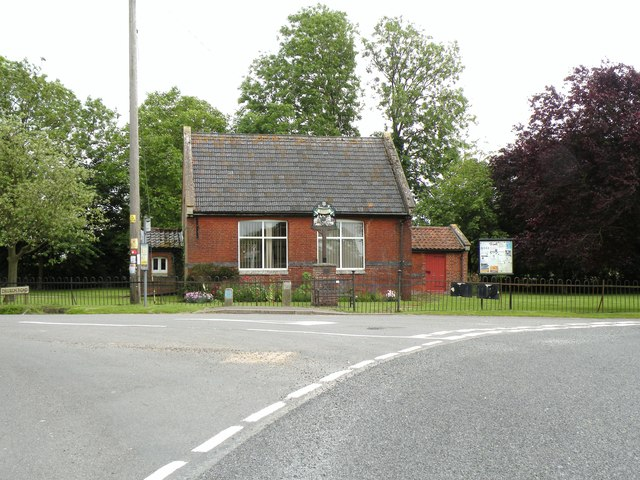 Village hall and village sign at Market Weston