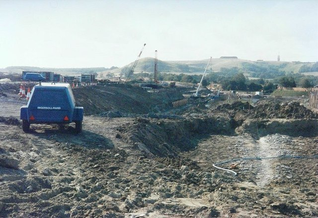 Construction of the Channel Tunnel Rail Link in 1988