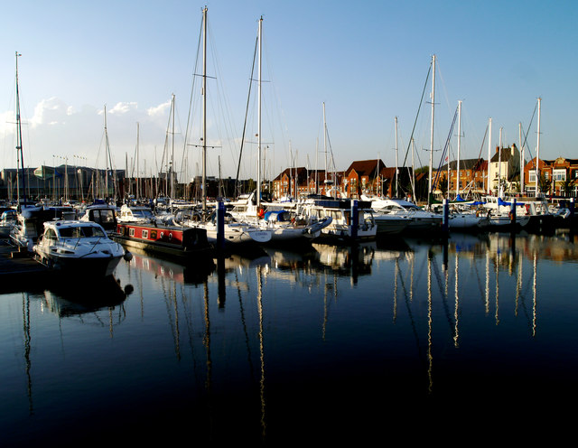 Boats and their Reflections on Hull Marina