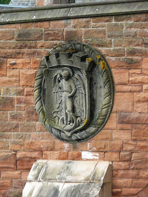 Dumfries coat of arms, plaque on St. Michael's Bridge