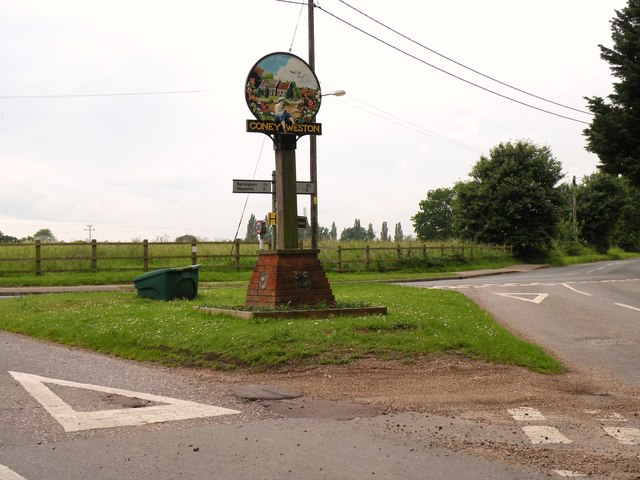 The village sign at Coney Weston