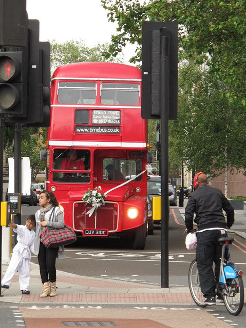 Routemaster bus,  end on