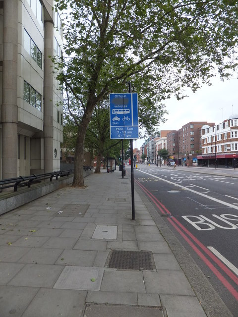 Olympic Lane sign Vauxhall Bridge Road
