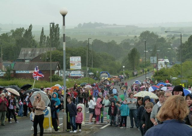 Crowds waiting for the Olympic torch, Bolsover