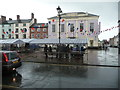 SO5174 : Part of Castle Square, Ludlow in the rain by Jeremy Bolwell