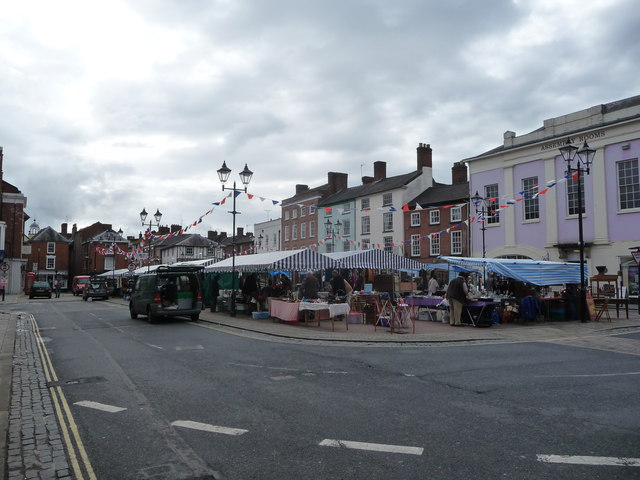 The Sunday market, Castle Square, Ludlow