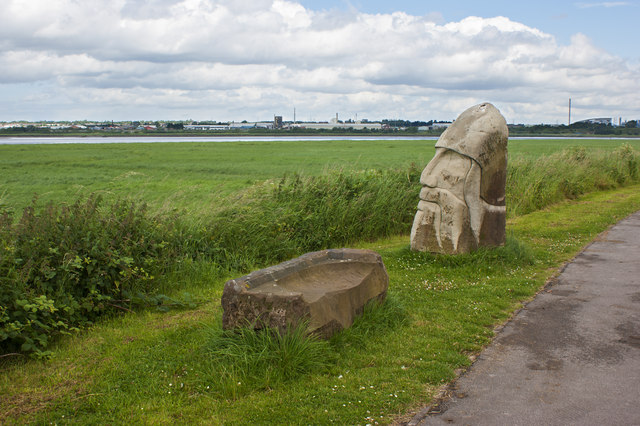 Stone seat and statue on Wigg Island
