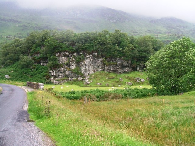 Rock outcrop at the head of Loch Striven