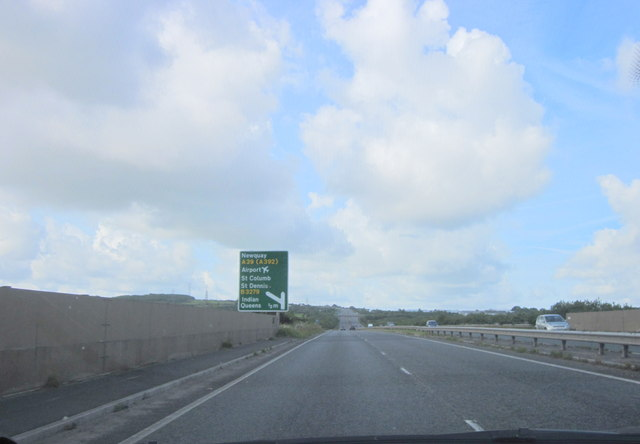 A30 Westbound Approaching Newquay Turn, A39