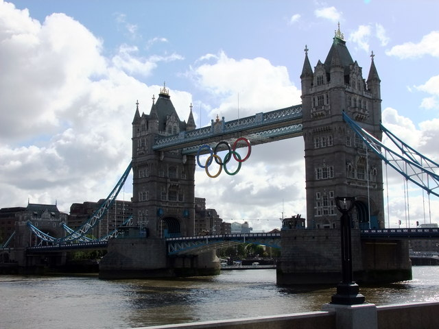 Olympic Rings on Tower Bridge for London 2012