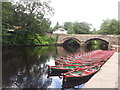 SE3457 : High Bridge and moored rowing boats on the River Nidd by Leslie