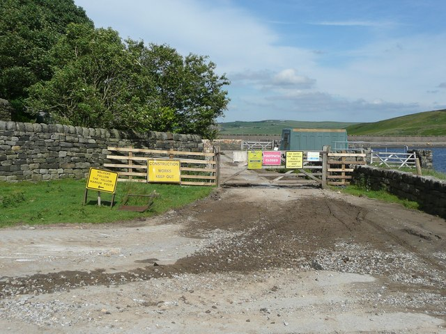 Entrance to reservoir construction site, Pasture, Withens