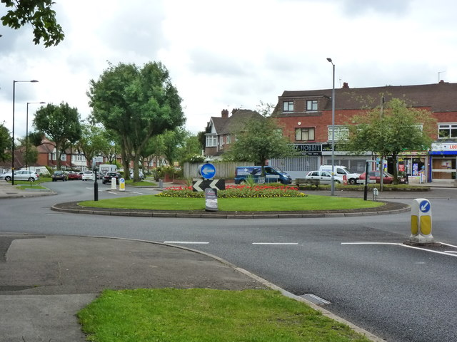Roundabout in Moseley at junction of Wake Green Road with Swanshurst Lane and Cole Bank Road