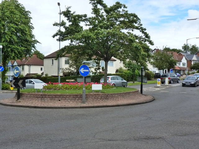 Roundabout in Hall Green at junction of Sarehole Road with Cole Bank Road