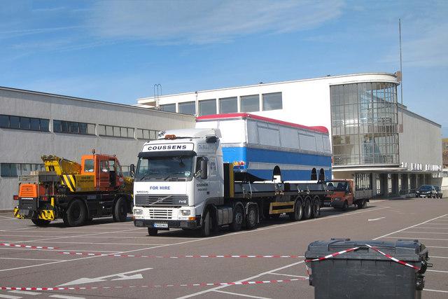 Italian job bus arriving at De La Warr Pavilion
