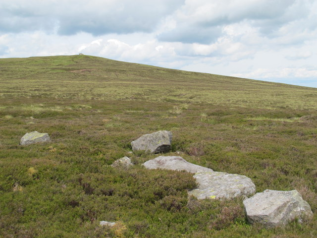 Small rock outcrop below the summit of Killhope Law